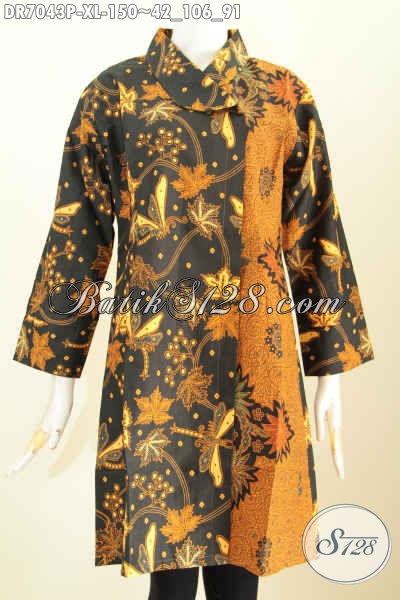 Dress Batik Solo Terkini, Hadir Dengan Desain Kerah Miring Motif Klasik Printing, Tampil Gaya Dan Elegan, Size XL