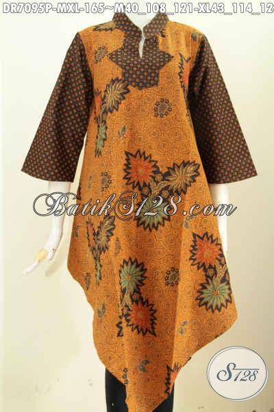 Batik Dress Terbaru Dengan Motif Klasik Desain Bagian Bawah Depan Belakang Lacip, Bahan Halsu Proses Printing Harga 165K [DR7095P-XL]