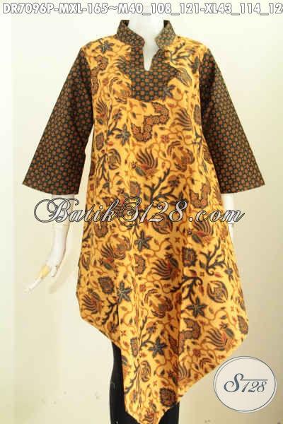 Baju Dress Wanita Muda Dan Dewasa, Pakaian Batik Elegan Desain Bagian Bawah Depan Belakang Lancip Motif Klasik Printing Harga 100 Ribuan Saja [DR7096P-M , XL]