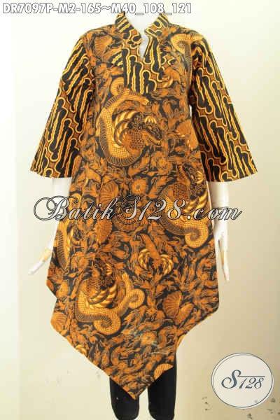 Baju Batik Wanita Untuk Kondangan, Dress Batik ELegan Motif Klasik Desain Trendy Proses Printing, Tampil Berkelas Dan Modis [DR7097P-M]