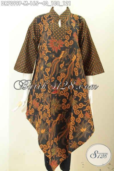 Dress Batik Dual Motif Bawah Lancip, Baju Batik Printing Trend 2017, Spesial Buat Wanita Muda Karir Aktif, Size M