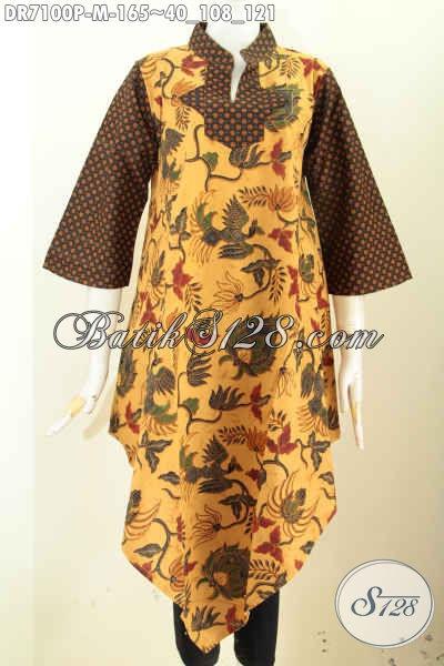 Toko Baju Batik Online Langganan Pegawai, Sedia Dress Klasik Bahan Batik Printing Halus Model Bawah Lancip, Penampilan Makin Trendy [DR7100P-M]