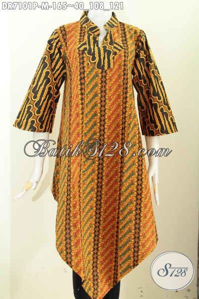 Dress Batik Kerah Shanghai Motif Klasik Bagian Bawah Lancip, Produk Baju Batik Solo Masa Kini Tampil Gaya Dan Berkelas, Size M
