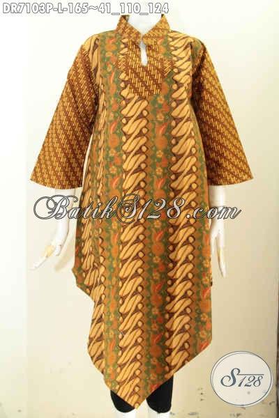 Baju Batik Wanita Warna Coklat Dress Batik Model Terkini
