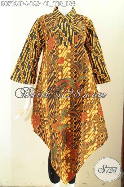 Jual Produk Batik Dress Solo Nan Istimewa, Pakaian Batik Halus Motif Klasik Desain Bawah Lancip 165K, Size L