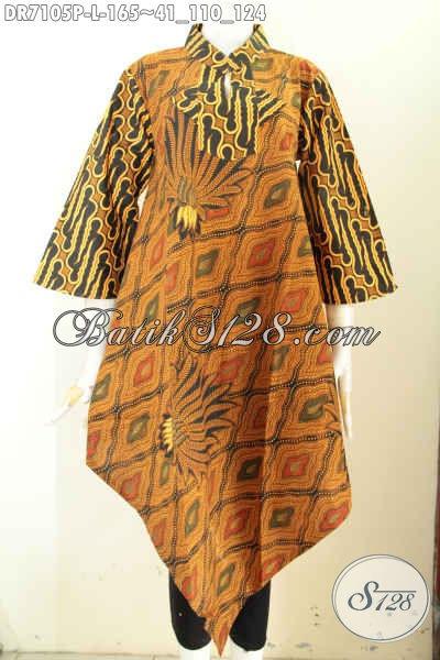 Baju Batik Wanita Ukuran L, Busana Dress Batik Solo Klasik Nan Istimewa Bahan Adem Proses Printing, Bikin Penampilan Lebih Berkelas [DR7105P-L]