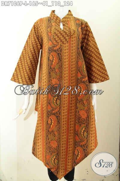 Dress Batik Klasik Solo Halus, Pakaian Batik Wanita Terbaru Yang Membuat Penampilan Terlihat Mewah Dan Berkelas, Model Bawah Lancip Proses Printing Harga 100 Ribuan [DR7106P-L]