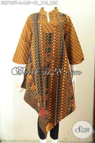 Dress Klasik Batik Solo Istimewa Bahan Halus Proses Printing Desain Keren Bawah Lancip, Tampil Mempesona, Size L