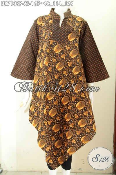 Baju Dress Solo Masa Kini, Pakaian Batik Istimewa Bahan Halus Motif Klasik Bikin Penampilan Elegan, Size XL