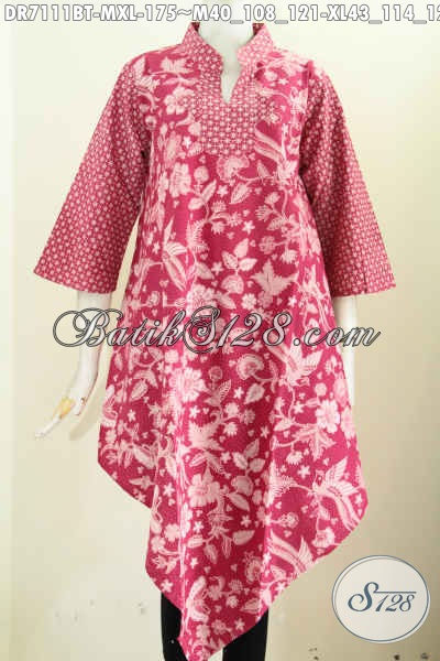 Baju Dress Kombinasi Tulis Warna Cerah Desain Keren Bawah Lancip, Pas Untuk Pesta, Size M