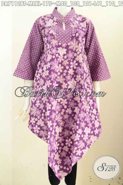 Batik Dress Keren Warna Ungu, Pakaian Batik Model 2017 Dengan Bagian Bawah Lancip Terlihat Modis Dan Gaul, Bahan Halus Proses Kombinasi Tulis [DR7112BT-M , XL
