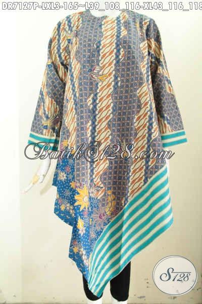 Baju Batik Terbaru Untuk Wanita, Dress Model Taplak Resleting Belakang Dengan Motif Klasik Nan Mewah Untuk Penampilan Makin Mempesona [DR7127P-L , XL]