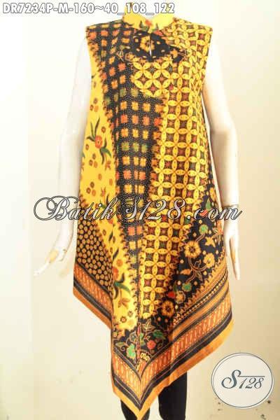 Dress Batik Trendy Model Taplak Tanpa Lengan, Pakaian Batik Keren Pakai Resleting Belakang A Simetris, Cocok Buat Pesta [DR7234P-M]