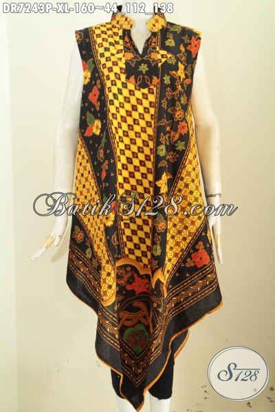Dress Batik Tanpa Lengan Bikin Wanita Tampil Beda, Busana Batik A Simetris Kwalitas Bagus Resleting Belakang Harga 160K [DR7243P-XL]