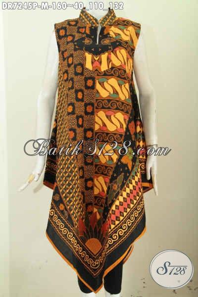 Baju Dress Motif Kombinasi Pakaian Batik Printing Tanpa