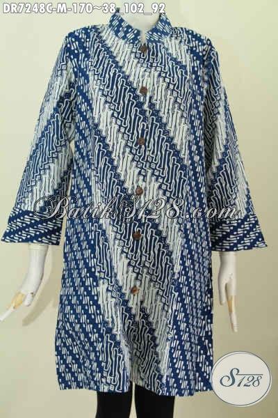 Baju Batik Wanita Modis Dengan Kombinasi 2 Warna Dan Pakai Kerah Shanghai, Pakaian Batik Proses Cap Pas Untuk Baju Kerja Harga 170K [DR7248C-M]