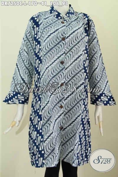 Baju Dress Batik Solo Jawa Tengah, Busana Batik Elegan Kerah Shanghai Biru 2 Warna Hanya 100 Ribuan Proses Cap, Size L