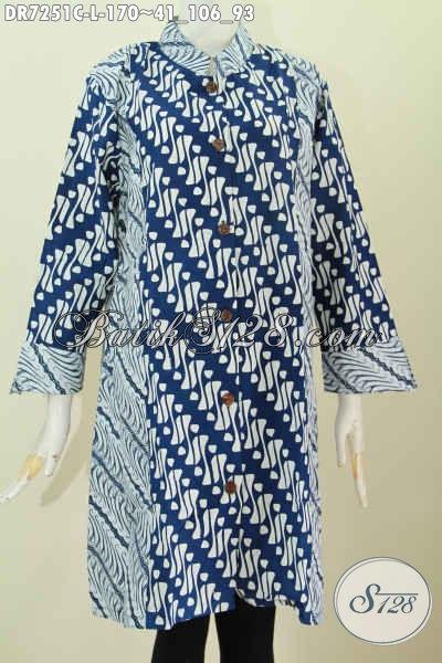 Dress Batik 2 Warna, Baju Batik Elegan Kerah Shanghai, Produk Pakaian Batik Solo Halus Bahan Adem Proses Cap Hargga 100 Ribuan [DR7251C-L]