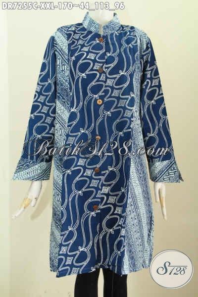 Dress Batik Jawa Tengah Spesial Buat Lelaki Gemuk, Baju Batik Solo Kerah Shanghai Nan Istimewa Bikin Penampilan Lebih Mempesona, Size XXL
