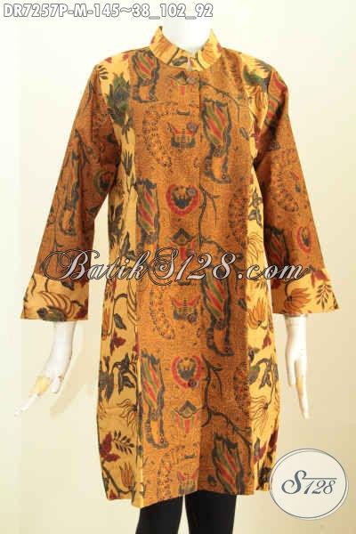 Dress Kerah Shanghai Halus Proses Printing Kombinasi 2 Warna, Baju Batik Kerja Wanita Karir Kwalitas Bagus Hanya 145K [DR7257P-M]