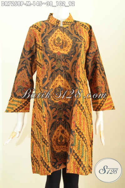 Jual Batik Dress Elegan Kerah Shanghai, Pakaian Batik 2 Warna Proses Printing Motif Mewah Hanya 145K, Size M