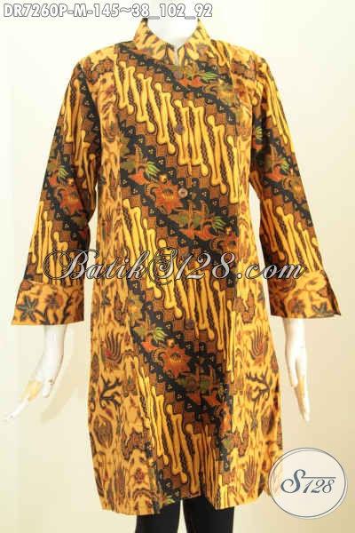Batik Dress Solo Klasik, Busana Batik Wanita Masa Kini Proses Printing Kombinasi 2 Warna Model Kerah Shanghai, Bisa Tampil Gaya Size M