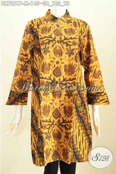 Batik Dress Modern, Busana Batik Wanita Untuk Tampil Elegan Dan Mewah Desain Kerah Shanghai Kombinasi 2 Warna Asli Buatan Solo Hanya 145K [DR7261P-M]