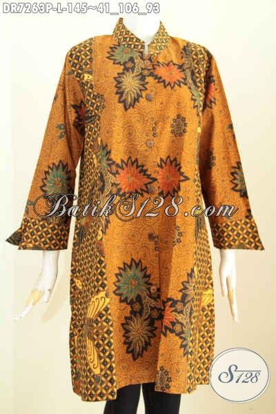 Sedia Baju Batik Wanita Modern Murah Meriah, Batik Dress Kerah Shanghai Nan Istimewa Dengan Kombinasi 2 Warna Motif Elegan Proses Printing Harga 145 Ribu [DR7263P-L]