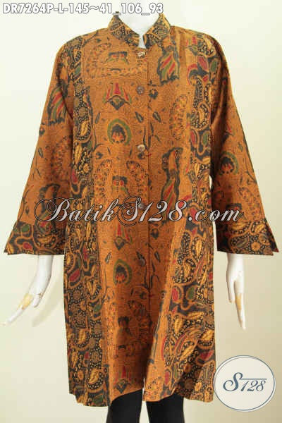 Jual Online Batik Dress Kombinasi 2 Warna Motif Klasik Proses Printing, Baju Batik Kerah Shanghai Untuk Kerja Dan Aara Resmi [DR7264P-L]