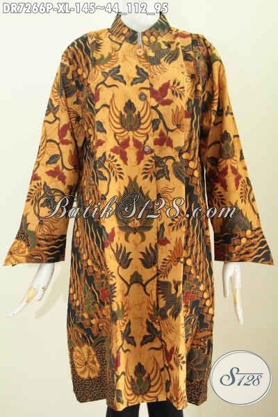 Produk Batik Spesial Untuk Wanita Dewasa, Pakaian Batik Klasik Desain Modern Kerah Shanghai Kombinasi 2 Warna Untuk Penampilan Mempesona [DR7266P-XL]