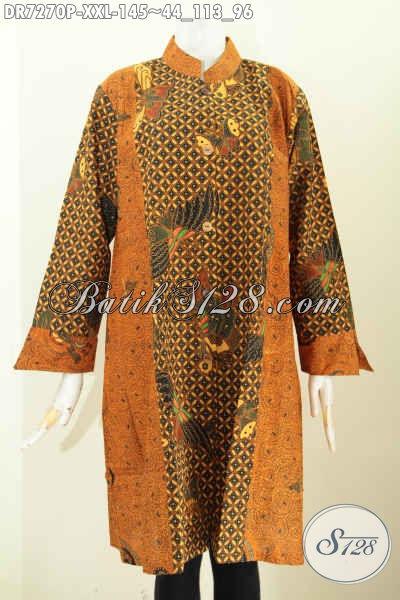 Contoh Model Baju Batik Dress Klasik Dua Motif Kerah Shanghai 670dc85add