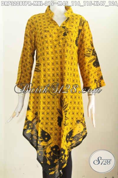 Dress Batik Warna Kuning Motif Klasik, Baju Batik Wanita Masa Kini Bahan Adem Proses Printing Model Taplak Proses Kombinasi Tulis Harga 200 Ribuan, Size M