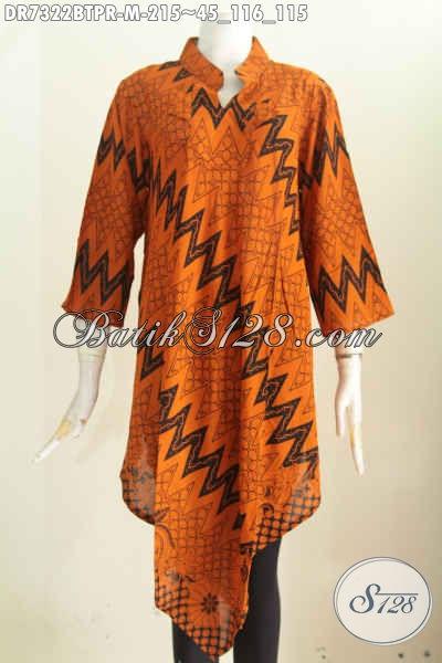 Baju Batik Cewek Modis, Busana Batik Solo Terkini, Produk Pakaian Batik Berkelas Bahan Paris Model Taplak, Tampil Keren [DR7322BTPR-M]