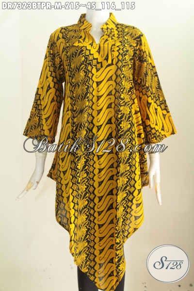 Batik Dress Kombinasi Tulis, Busana Batik Wanita Masa Kini Model Taplak Motif Bagus Bahan Paris Harga 215K [DR7323BTPR-M]