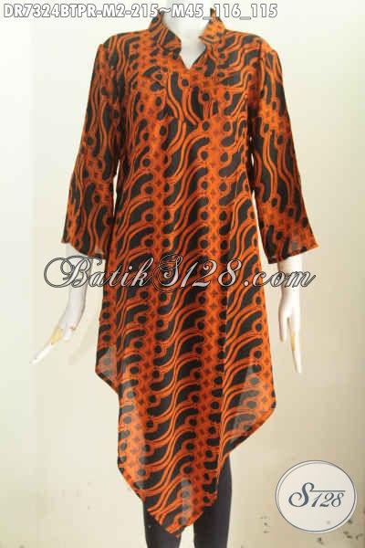 Baju Batik Kerja Masa Kini Dengan Desain Taplak, Dress Batik Motif Klasik Proses Kombinasi Tulis Bahan Paris, Tampil Lebih Keren [DR7324BTPR-M]