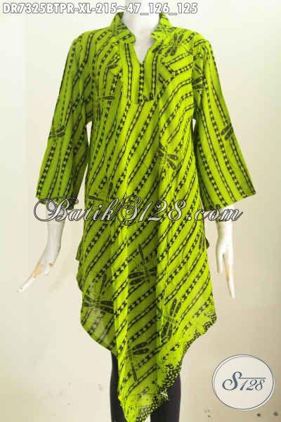 Dress Batik Hijau Muda Model Taplak, Pakaian Batik Khas Jawa Tengah Proses Kombinasi Tulis Untuk Penampilan Lebih Istimewa Dengan Bahan Kain Paris [DR7325BTPR-XL]