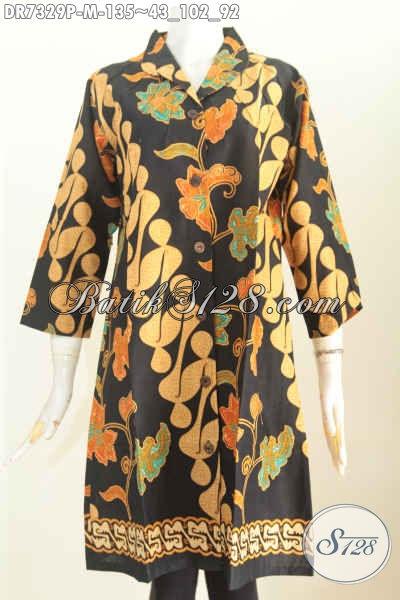 Baju Batik Atasan Wanita Modern, Dress Batik Kerah Langsung Motif Trendy Printing, Tampil Cantik Harga 100 Ribuan [DR7329P-M]