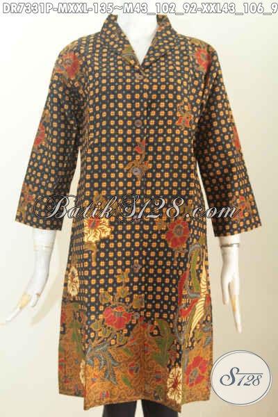 Batik Dress Elegan Bahan Halus Motif Klasik Printing, Baju Batik Kerah Langsung Buatan Solo, Pas Untuk Seragam Kerja [DR7331P-M]