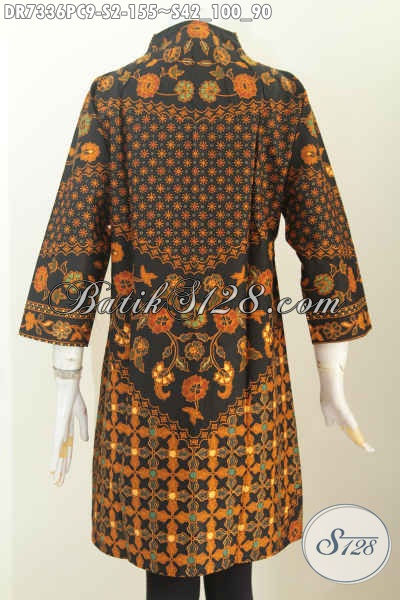 Batik Dress Seragam Kerja Wanita Masa Kini, Baju Batik Kerah Langsung Motif Sinaran Proses Printing, Tampil Makin Berkelas [DR7336PC-S]