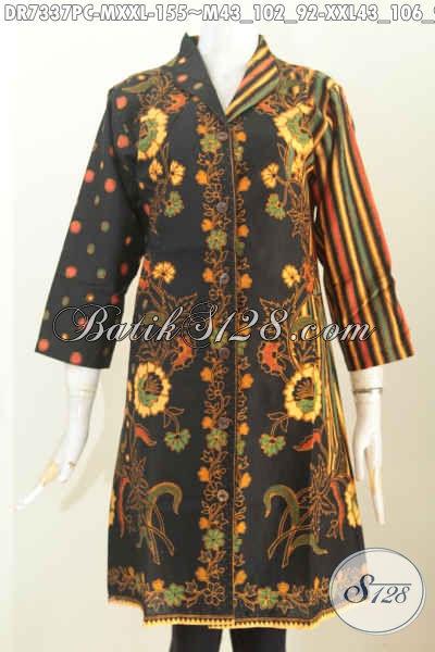 Busana Batik Wanita 2017, Dress Kerah Langsung Proses Printing, Baju Batik Sinaran Bahan Adem, Pas Untuk Acara Formal [DR7337PC-M , XXL]