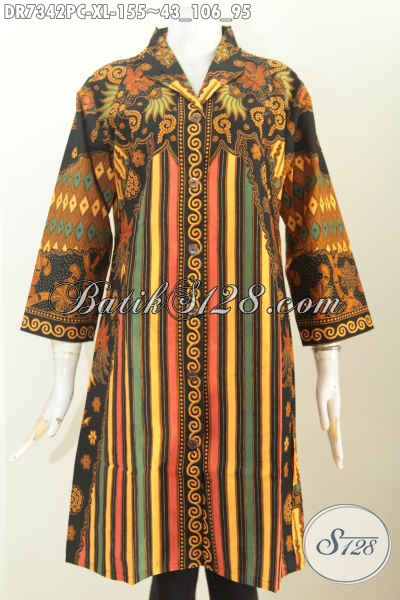 Dress Sinaran Kerah Langsung, Busana Batik Klasik Berkelas Proses Printing Bikin Penampilan Makin Sempurna [DR7342PC-XL]
