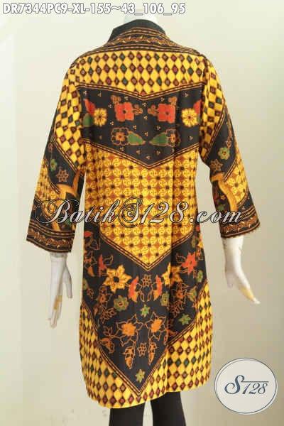 Batik Dress Elegan Buatan Solo Asli, Pakaian Batik Kerah Langsung Proses Printing Motif Sinaran, Tampil Mempesona [DR7344PC-XL]