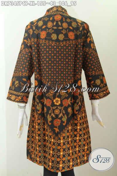 Baju Batik Wanita Dewasa, Busana Batik Solo Halus Model Kerah Langsung Proses Printing Hanya 100 Ribuan [DR7345PC-XL]