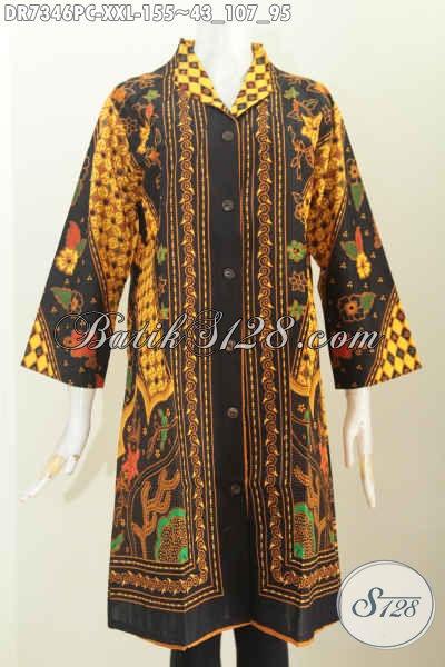 Baju Dress Wanita Gemuk, Pakaian Batik Elegan Bahan Adem Motif Sinaran Proses Printing Harga 155 Ribu, Size XXL