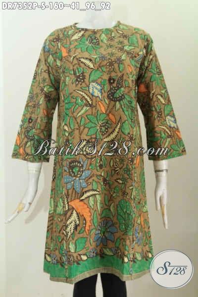 Pakaian Batik Untuk Wanita Muda Tampil Cantik Mempesona, Baju Batik Dress Tanpa Krah Motif Bagus Proses Printing 100 Ribuan [DR7352P-S]