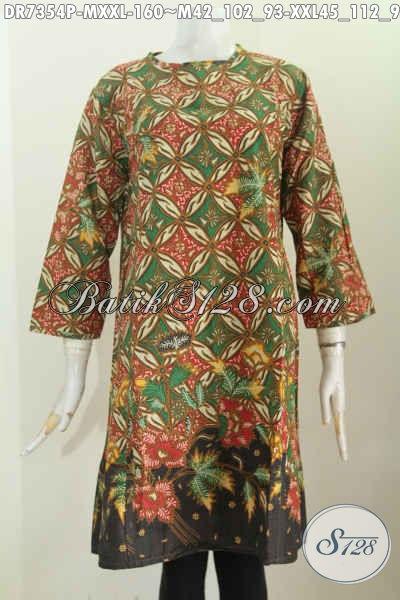 Batik Dress Tanpa Krah, Baju Batik Modis Halus Motif Unik Proses Printing Lebih Keren Dengan Resleting Belakang Harga 160K [DR7354P-M]