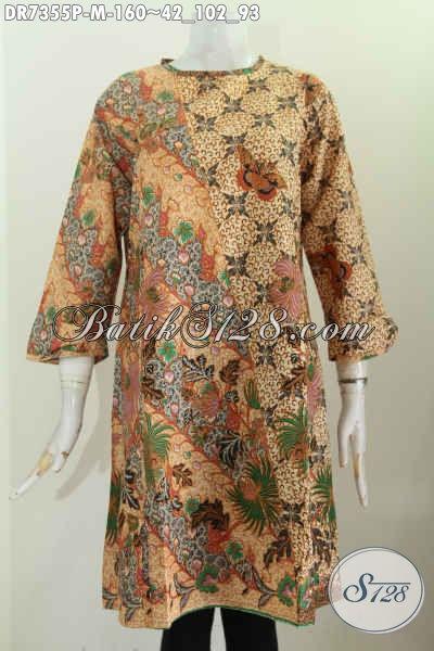 Pusat Baju Batik Wanita Online, Jual Dress Tanpa Krah Motif Kombinasi Dengan Resleting Belakang, Baju Batik Printing Cocok Buat Kerja [DR7355P-M]
