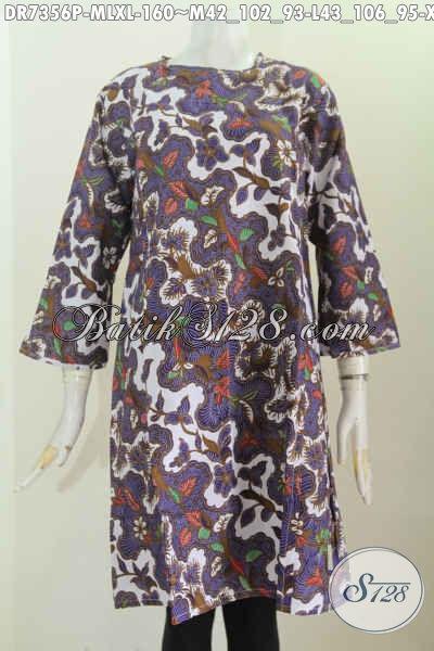 Batik Dress Seragam Kerja Wanita Karir, Busana Batik Tanpa Krah Pakai Resleting Belakang, Penampilan Lebih Mempesona [DR7356P-M , L]