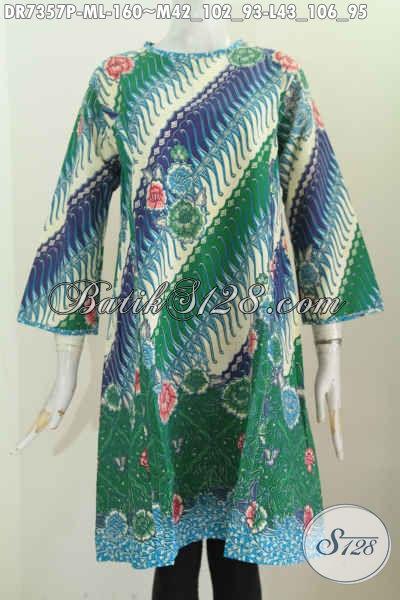 Batik Dress Size M Dan L, Pakaian Batik Desain Resleting Belakang Terkini, Baju Batik Tanpa Krah Tampil Cantik Dan Anggun [DR7357P-M]