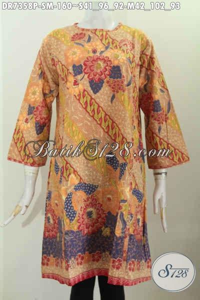 Baju Dress Motif Bunga Warna Bagus Dan Berkelas, Baju Batik Printing Solo Tanpa Krah Dengan Resleting Belakang Harga 160K [DR7358P-M]